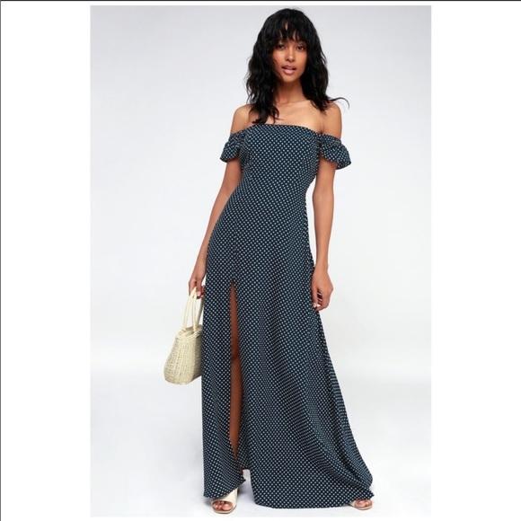 Lulu's Dresses & Skirts - Lulus Dream Love Polka Dot Maxi Dress Navy Blue